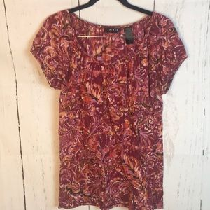 Axcess Large Pinks/Reds Boho Short Sleeve Tunic